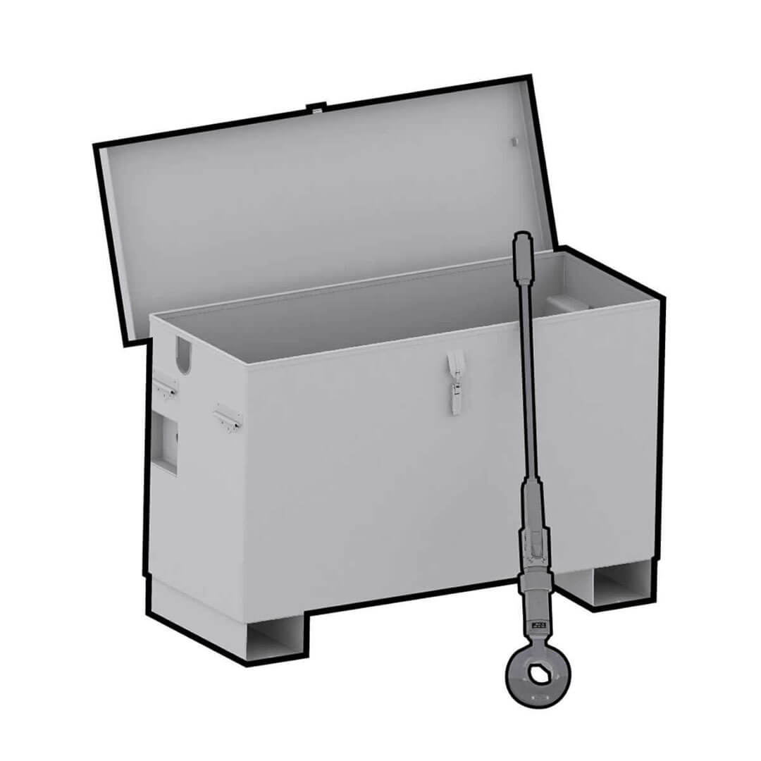 Storage box for a portable valve actuator