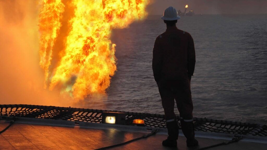 Flaring on oil rig