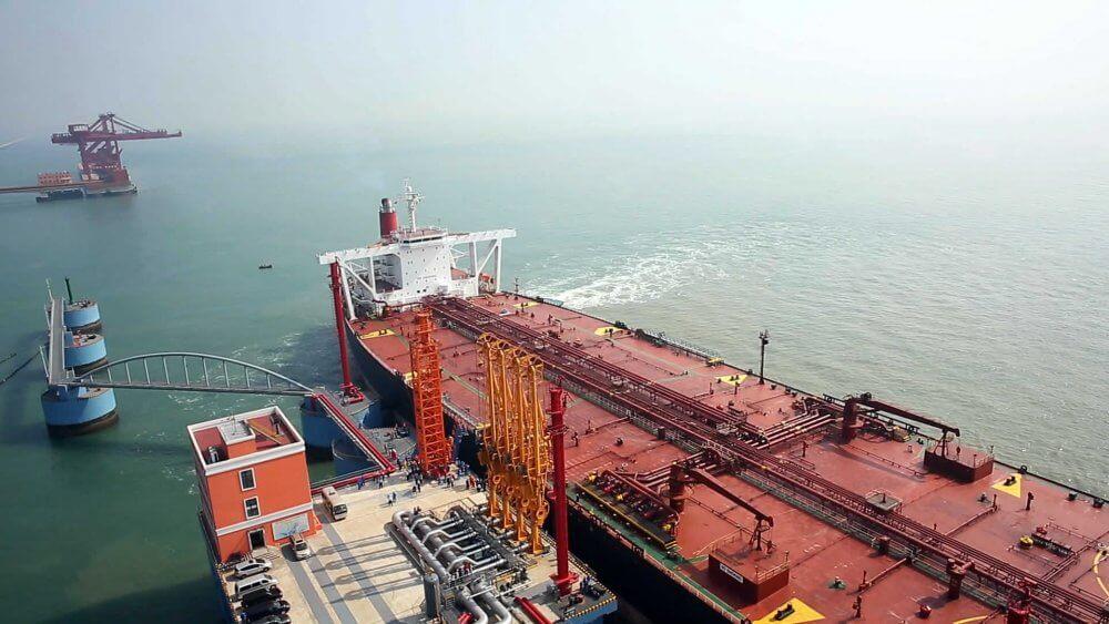 Tanker loading in harbour